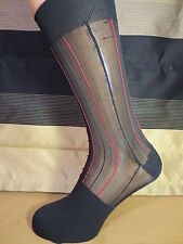 Mid calf ribbed sheer nylon socks. BLACK WITH RED STRIPES