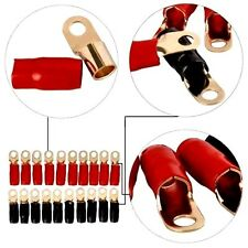 4 Gauge Gold Ring Terminal 100pcs 4 AWG Wire Crimp Cable- Red/Black Boots- 5/16