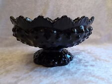 Vintage Fenton Black Glass Hobnail Candle Holder/Center Piece