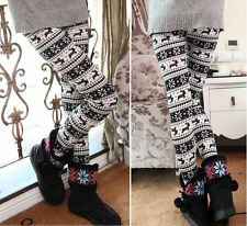 Fashion Womens Elastic Knitted XMAS Snowflake Reindeer Pants Trousers Leggings J