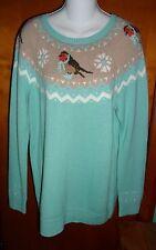 New Talbots Mint Green Bird Fair Isle Sweater 2X