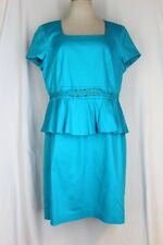 LESLIE FAY Peplum Dress 16 XL Turquoise Blue Cotton Stretch Lined Short Sleeve