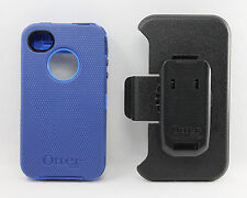 OtterBox Defender Hard Rugged Case for iPhone 4 4S w/Holster Belt Clip Blue USED