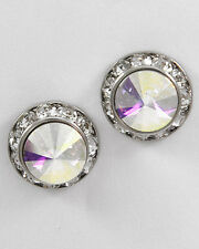 Silver AB Crystal Round Pierced Earrings Swarovski Elements Fashion Jewelry