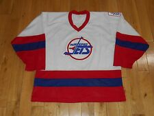 Vintage 90s CCM White WINNIPEG JETS Mesh Mens NHL Hockey Team Sweater JERSEY Lrg