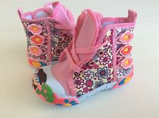 Baby Toddler Girl Pink Canvas Boots Shoes Size 7 with Zipper And Laces