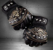 Men's Punk Rocker Skull Studded Fingerless Driving Genuine Leather Gloves black