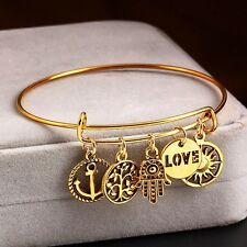 Expandable Wire Cuff Bangle Gold Charm Bracelet- Love,Tree of life, Fatima