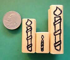 Birthday Cake Candle Rubber Stamp Set of (3), wood mounted