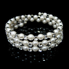3 Rows Wedding Party Bridal imitation pearl Crystal Stretch Bracelet SL0131