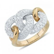 14K ROSE WHITE GOLD 1.50C PAVE DIAMOND CHAIN LINK STATEMENT COCKTAIL RING