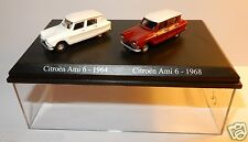 COFFRET ATLAS DUO 2 METAL UH HO 1/87 CITROEN AMI 6 BLANCHE 1964 + ROUGE 1968
