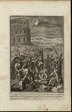 Building Tower of Babel Reach Heaven c.1750 antique copper engraved Bible print