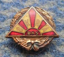 SKRA WARSZAWA POLAND RUGBY SPEEDWAY CLUB 1970's BRONZE ENAMEL PIN BADGE