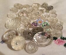 A collection of various Antique Vintage Clear Glass Buttons.