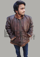Men's Aviator B3 Bomber Brown Shearling Fur Leather Jacket