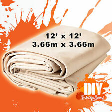 Phoenix Heavy Duty Canvas Drop Sheet Drop Cloth 12' x 12' Paint Dust Protection