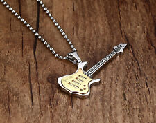 Guitar pendent & Cuban Necklace New Stainless Steel Fashion Pendant Jewelry mens