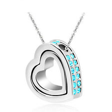 Jewelry Double Heart Sky Blue Crystal Charm Pendant Chain Necklace Silver QW23