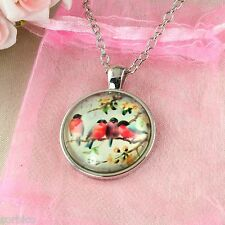 N8 Silver Plated Glass Cabochon Vintage Birds Pendant Necklace - Gift Pouch