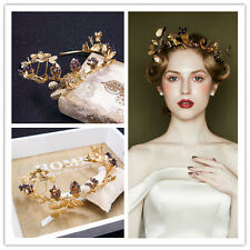 Vintage Wedding Bridal Gold Queen Crown Tiara Hair Accessories Headband Jewelry