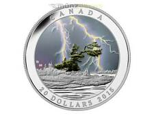 20 $ Dollar Weather Phenomenon Summer Storm Kanada 1 oz Silber 2015 + UV Lampe
