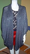 New Plus Size 3X Gray Silver Sequin Shrug Cardigan Sweater Shimmer Heavy Cocoon