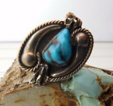 Vtg Old Pawn ZUNI LEE & MARY WEEBOTHEE Sterling Silver Turquoise Nugget RING