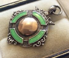 Beautiful Quality Full Hallmarked Antique Silver & Rose Gold & Enamel Fob Medal