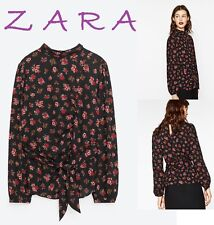 ZARA Black Floral Print Top With Belt Long Sleeve High Neck New RT$44 Blouse XS+