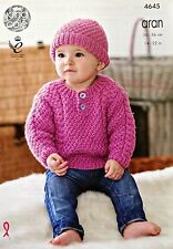 Baby KNITTING PATTERN Babies Long Sleeve Cable Jumper & Hat Aran King Cole 4645