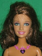 BRUNETTE BARBIE DOLL-LIGHT UP NECKLACE & SOUND-NUDE FOR ONE OF A KIND