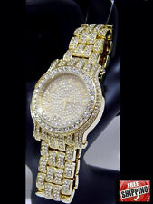 14k Gold Finish Hip Hop Iced Out Watch Bracelet Lab Diamond Roman Numeral