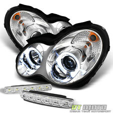 For 01-07 Mercedes W203 C-Class Dual Halo Projector Headlights+Smd Bumper Fog