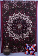 Indian Maroon Star Hippie Mandala Psychedelic Wall Hanging Twin Tapestry Throw