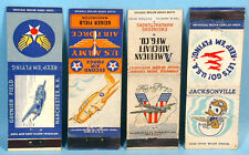 1940s World War II Air Force Stations Navy Army 7 Original Matchbook Covers