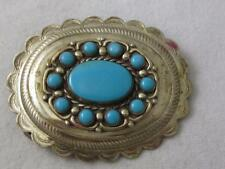 VINTAGE BELL TRADING CO NICKEL SILVER & TURQUOISE SOUTHWESTERN  BELT BUCKLE