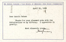 Rare Harvey Cushing Note Sending Thanks for (His Last) Birthday Wishes Lot 33