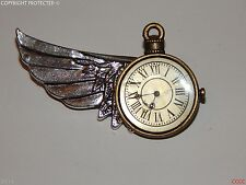 NEW steampunk brooch badge time flying left wing watch clock Alice in Wonderland