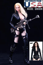 1/6 Black Widow Female Agent Sexy Leather Suit Set For Phicen Hot Toys U.S.A.