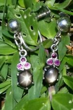 Vintage 18k White Gold Black Star Sapphire Pink Sapphire Earrings Estate Jewelry