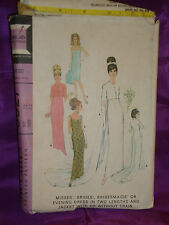 60s Vintage Bridal Slim Gown Crop Jacket w Train CMPLT McCalls Pattern 8527 B 32
