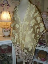 EXQUISITE EMBROIDERED Saffron WATER LILY Crochet Lace PASHMINA SHAWL WRAP SCARF