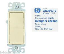 Lot 5 Ivory GE 15A 3-Way 120/277V Designer/Decora Sws