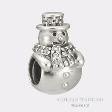 Authentic Pandora Sterling Silver Snowman with Clear CZ Bead 792001CZ