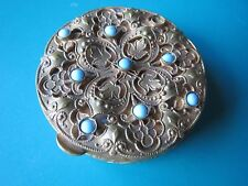 FRENCH ANTIQUE ENAMEL PILL PATCH BOX c. 1890 trinket brass flower France bead