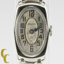 Vintage Gruen 14k White Gold Women's Art Deco Hand-Winding Watch w/ Stretch Band