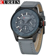 New Arrival Top Brand CURREN Mens Gray Watches High Quality Leather Strap