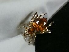 Vintage Gold Coro Pegasus Amber Butterscotch Bug Bee Fly Rhinestone Brooch Pin