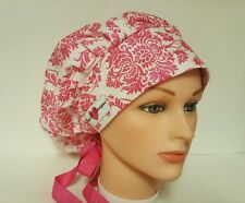 HOT PINK  GLITTER  DAMASK/ BOUFFANT/ SCRUB  / MEDICAL /CAP /SURGICAL/PONYTAIL